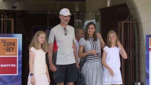 princess leonor of spain princess sofia of spain king felipe vi of spain and queen letizia of spain visit the royal nautic club the last day of the... - queen letizia of spain stock videos and b-roll footage