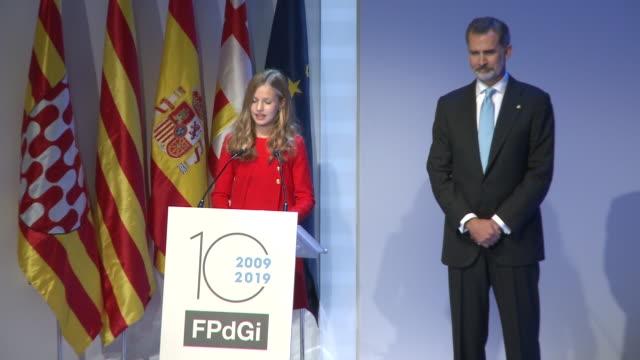 princess leonor speech at the 'princesa de girona' foundation awards - speech stock videos & royalty-free footage