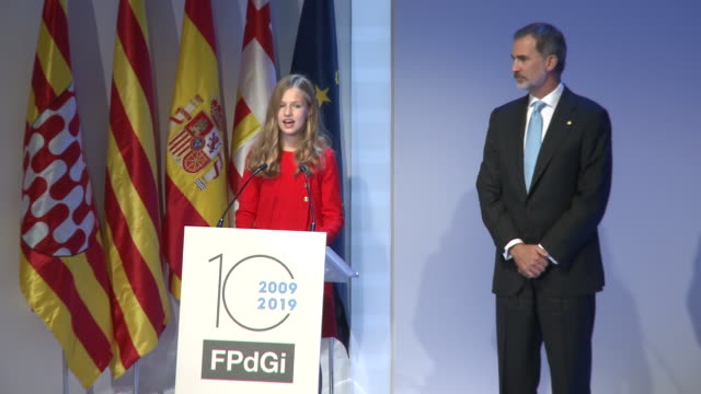 vídeos de stock e filmes b-roll de princess leonor speech at the 'princesa de girona' foundation awards - princess