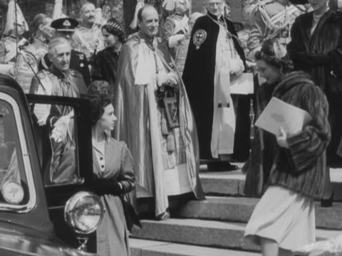 princess margaret and the duchess of gloucester leave st george's chapel at windsor chapel following the completion of the order of the garter... - princess margaret 1950 stock videos and b-roll footage