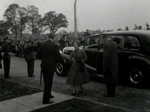 princess margaret arrives at a housing estate in borehamwood to lay the foundation stone of a new church - princess margaret 1950 stock videos and b-roll footage