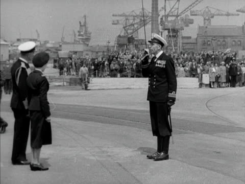 princess margaret arrives at hms victory at portsmouth harbour and inspects a line of troops 1950 - princess margaret 1950 stock videos and b-roll footage
