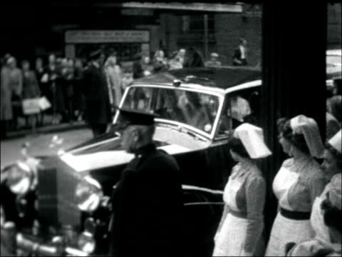 princess margaret goes to 'my fair lady' england london drury lane drury lane theatre with nurses standing outside as guard of honour nurses in... - 1958 stock videos & royalty-free footage