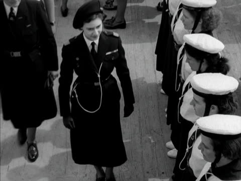 princess margaret inspects the ranks of sea rangers on board the english rose at portsmouth harbour 1950 - princess margaret 1950 stock videos and b-roll footage