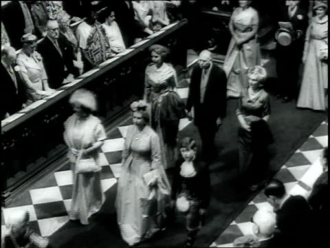 Princess Margaret rides in royal carriage on her wedding day / crowds of spectators / guests arrive for wedding at Westminster Abbey Princess...