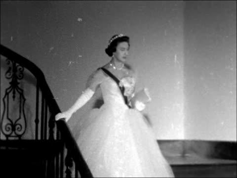 princess margaret royal tour of east africa: nairobi visit; kenya: nairobi: government house: int princess margaret along down staircase / cms... - tiara stock videos & royalty-free footage