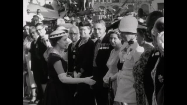 stockvideo's en b-roll-footage met princess margaret shakes hands with various dignitaries before boarding a boat at the end of her tour of barbados - koninklijk persoon