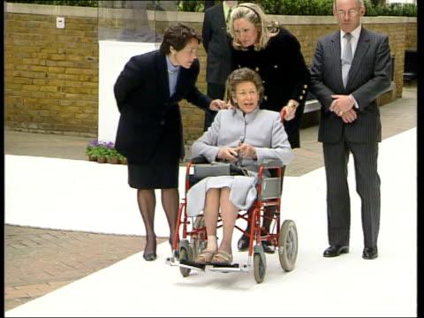 Princess Margaret suffers another stroke LIB London Design Centre Margaret wheeled along in wheelchair during visit Norfolk Sandringham GV Entrance...