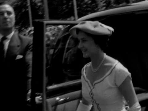 princess margaret visits hampstead garden suburb england hampstead garden suburb ext royal car arriving mayor and other dignitaries waiting princess... - 1957 stock videos & royalty-free footage
