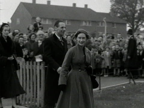 princess margaret visits the home of a family on a housing estate in borehamwood - princess margaret 1950 stock videos and b-roll footage