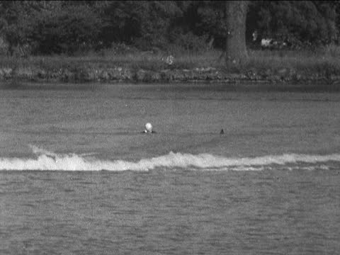 princess margaret water skiing; england: berkshire: sonning: ext princess margaret, countess of snowdon along with instructor gv both along - swing... - standing stock videos & royalty-free footage