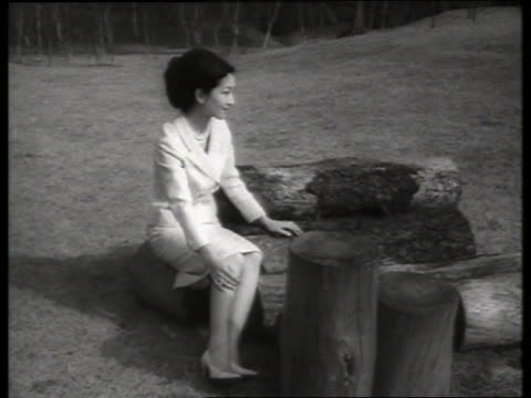 b/w princess michiko of japan sitting at palace grounds / 1960's / sound - japanese royalty stock videos and b-roll footage