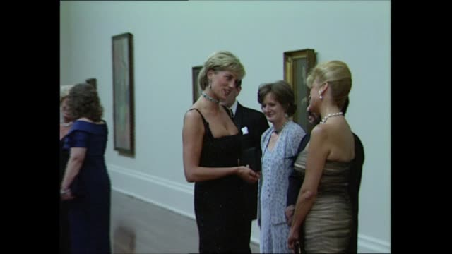 princess of wales 36th birthday: tate gallery arrivals; england: london: tate gallery: diana, princess of wales walking along & greeted / princess... - birthday stock videos & royalty-free footage