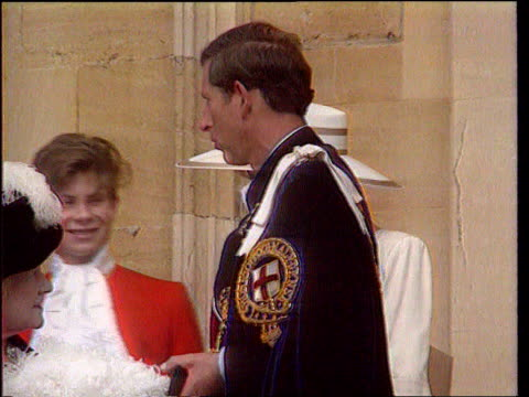 princess of wales agrees to divorce bsp150692002 / windsor ms prince charles and diana princess of wales with queen mother after order of the garter... - relationship difficulties stock videos & royalty-free footage