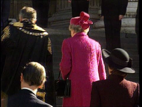 princess of wales agrees to divorce; day london st paul's cathedral bv queen elizabeth ii up steps of cathedral with lord mayor for memorial service... - divorce stock videos & royalty-free footage