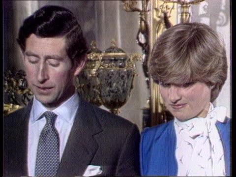 Princess of Wales agrees to divorce TX Buckingham Palace CMS Prince Charles and Lady Diana at engagement pkf as Charles SOT 'Great fun' Diana SOT...