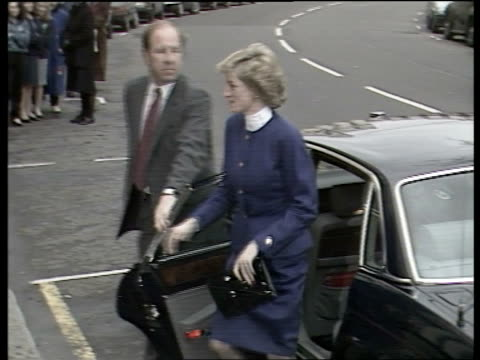 Princess of Wales AIDs visit London Medical Research Council TMS Princess Diana steps out of car PAN RL as shakes doctors crowds stand behind barrier...