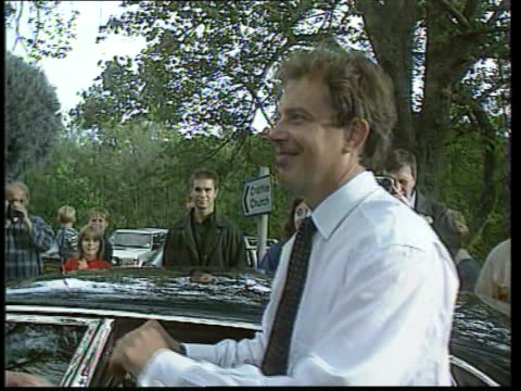 anniversary of death lib pm tony blair mp into car outside craithie church lib england northants althorp althorp house int earl spencer along thru... - tony blair stock-videos und b-roll-filmmaterial