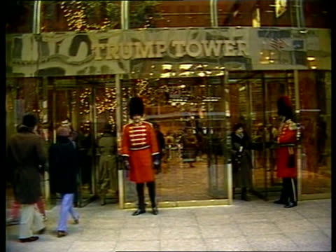 princess of wales apartment: diana reportedly plans to live in trump tower; usa: new york: lms entrance to trump tower with doormen dressed as... - princess stock videos & royalty-free footage
