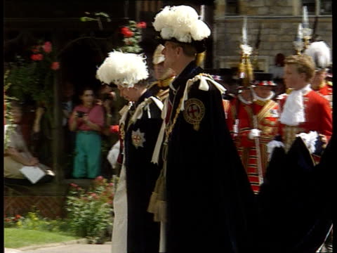 princess of wales book published bbc/sky pool ext windsor ms queen and duke of edinburgh along in ceremonial clothes at order of the garter ceremony... - bbc stock videos & royalty-free footage