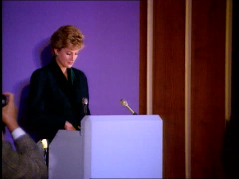 Bulimia rumours SEQ Princess of Wales speech SOT You're fortunate to have your Patron here today/ I'm supposed to have my head stuffed down the loo...