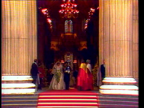 princess of wales death lib london st paul's diana along with prince charles down aisle on wedding day waving from open carriage crowd on buckingham... - prinz von wales stock-videos und b-roll-filmmaterial