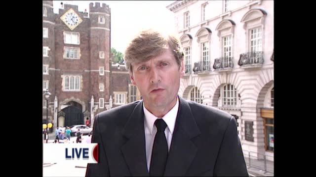 princess of wales death: london today pab; england: london: int live reporter angus scott to camera sot ext people queuing to pay respects to diana,... - death stock videos & royalty-free footage
