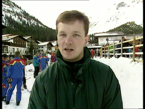 princess of wales family skiing holiday; cms munro i/c sot cms diana laughing sot as standing with friends side prince harry l-r as skis along diana... - ski holiday stock videos & royalty-free footage