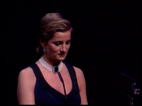 princess of wales' hair style/ fashion awards; princess at podium zoom in tbv ditto cms princess of wales smiles as someone in audience heard to... - hairstyle stock videos & royalty-free footage