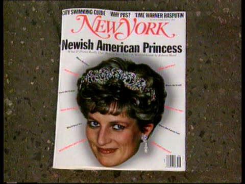 "princess of wales' hair style/ fashion awards; usa: new york front page of ""new york"" with picture of princess & headline ""newish american princess""... - newspaper headline stock videos & royalty-free footage"