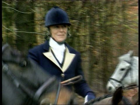 Princess of Wales interview Location Unknown MS Camilla Parker Bowles riding horse PAN LR as past to BV past others at hunt