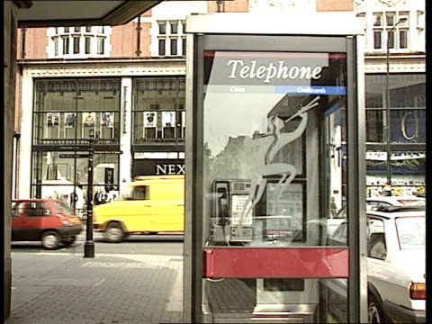"""malicious telephone calls; england: london: kensington: ext cms directional sign pointing to """"kensington palace & gardens"""" pull out public telephone... - directional sign stock videos & royalty-free footage"""