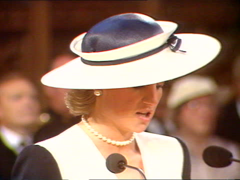 princess of wales receives freedom of the city of london:; b) england: london: guildhall: ext diana, princess of wales walks towards inspecting guard... - itv news at one stock videos & royalty-free footage