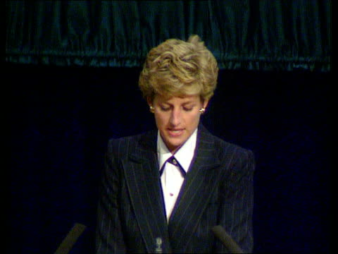 princess of wales speech at aids conference; naf: scotland: edinburgh: who conference: cms princess of wales speech sot - on problems faced by women... - retrovirus video stock e b–roll