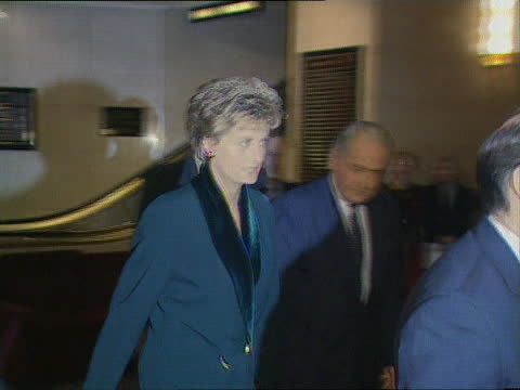 princess of wales speech:; england: london: hilton hotel: int diana, princess of wales entering hotel as arriving for lunch, shaking hands and up... - itv news at one stock videos & royalty-free footage