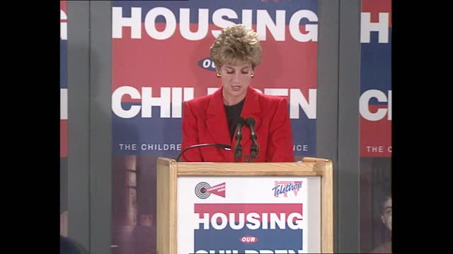 princess of wales speech on teenage homelessness; part 2 of 2 england: london: qeii centre: int diana, princess of wales speech sot - once young... - simplicity stock videos & royalty-free footage