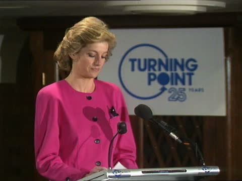 princess of wales speech to turning point conference; part 1 of 2england: london : intdiana, princess of wales enters with turning point... - luck stock videos & royalty-free footage