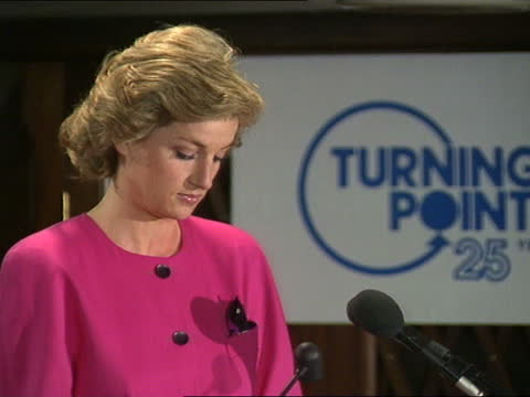 princess of wales speech to turning point conference; part 2 of 2 england: london : int diana, princess of wales speech sot. - i have become... - scratched stock videos & royalty-free footage