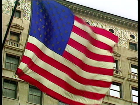 usa illinois chicago vox pops sot lams stars and stripes flag flying outside building gv front of drake hotel int gv reception area of drake hotel gv... - chicago illinois stock videos & royalty-free footage