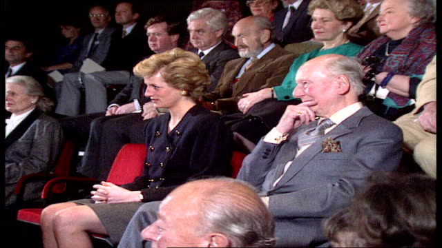 princess of wales visits cutaways; england: london: royal academy of dramatic arts: int gv diana and sir john gielgud in audience listening pull out... - john gielgud stock videos & royalty-free footage