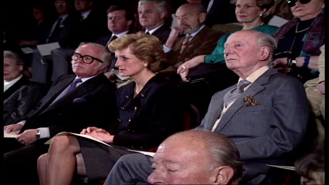 princess of wales visits ; england: london: int diana, princess of wales , sir richard attenborough and sir john gielgud laughing to lines at... - john gielgud stock videos & royalty-free footage