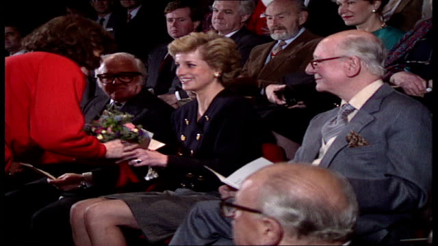 princess of wales visits ; england: london: int **sound intermittent in this section** various shots of people sat in audience including susannah... - john gielgud stock videos & royalty-free footage