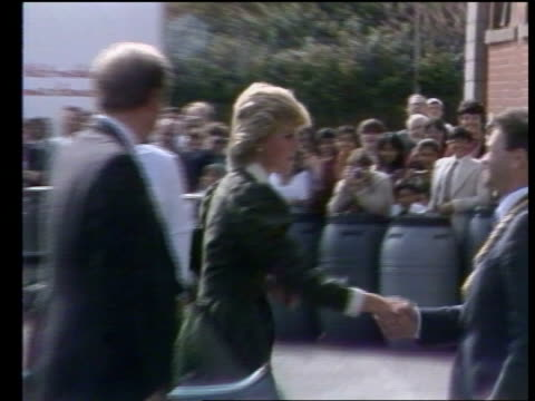 Princess of Wales visits James Keiller Son Ltd Princess of Wales visits James Keiller Son Ltd SCOTLAND Dundee MS Princess Diana out of car ZOOM as...