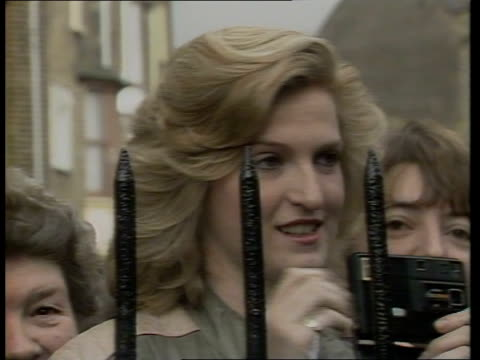 princess of wales wearing new hair style; princess of wales wearing new hair style; cms julie wooldridge with camera behind railings lms ditto pull... - hairstyle stock videos & royalty-free footage