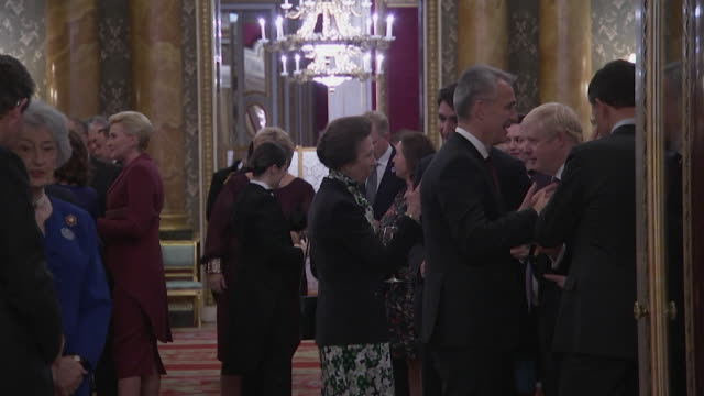 princess royal canadian prime minister justin trudeau and boris johnson chatting during buckingham palace reception during nato summit - cheerful stock videos & royalty-free footage