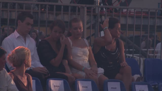 princess stephanie and her children pauline and louis decruet with camille gottlieb at the monaco royal wedding jean michel jarre concert at monaco - monaco stock-videos und b-roll-filmmaterial