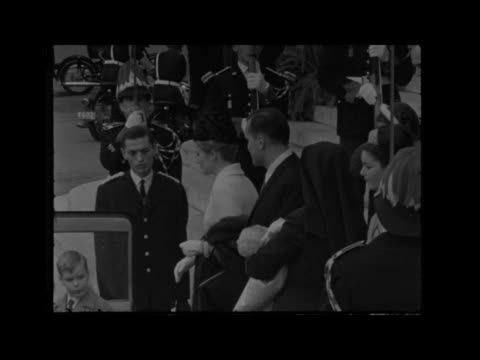 princess stephanie christened b monte carlo monaco cu flag on mast ms tilt cathedral monaco cathedral int ms royal party enter cu baby held ms... - fürst rainier iii. von monaco stock-videos und b-roll-filmmaterial