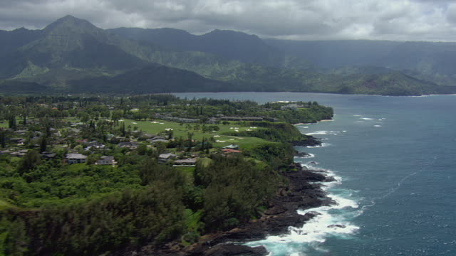princeville and hanalei bay on kauai hawaii - kauai stock videos & royalty-free footage