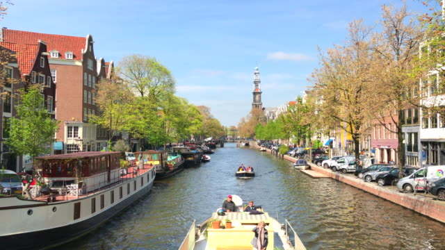 prinsengracht canal and westerkerk, amsterdam, netherlands - canal stock videos & royalty-free footage