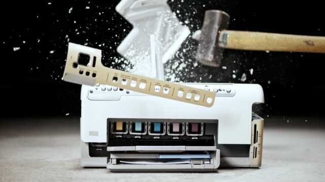 slo mo ld printer being smashed with a hammer - demolished stock videos & royalty-free footage